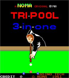 Title screen of Tri-Pool on the Arcade.