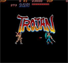 Title screen of Trojan on the Arcade.