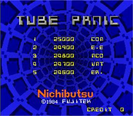 Title screen of Tube Panic on the Arcade.