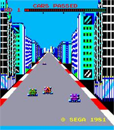 Title screen of Turbo on the Arcade.