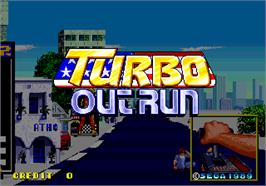 Title screen of Turbo Out Run on the Arcade.
