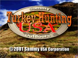 Title screen of Turkey Hunting USA V1.0 on the Arcade.
