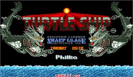Title screen of Turtle Ship on the Arcade.