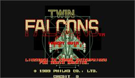 Title screen of Twin Falcons on the Arcade.