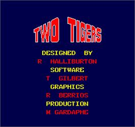 Title screen of Two Tigers on the Arcade.