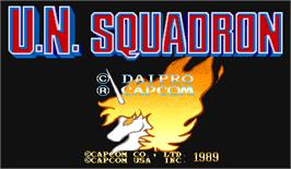 Title screen of U.N. Squadron on the Arcade.
