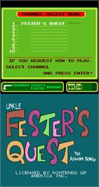 Title screen of Uncle Fester's Quest: The Addams Family on the Arcade.