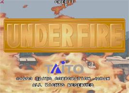 Title screen of Under Fire on the Arcade.
