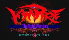 Title screen of Vampire: The Night Warriors on the Arcade.