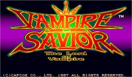 Title screen of Vampire Savior: The Lord of Vampire on the Arcade.