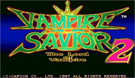 Title screen of Vampire Savior 2: The Lord of Vampire on the Arcade.