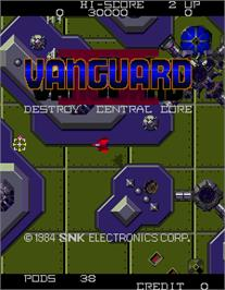 Title screen of Vanguard II on the Arcade.