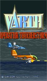 Title screen of Varth: Operation Thunderstorm on the Arcade.