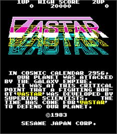 Title screen of Vastar on the Arcade.