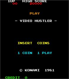 Title screen of Video Hustler on the Arcade.