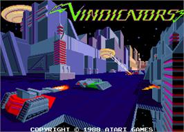 Title screen of Vindicators on the Arcade.