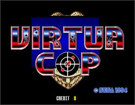 Title screen of Virtua Cop on the Arcade.