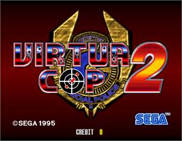 Title screen of Virtua Cop 2 on the Arcade.