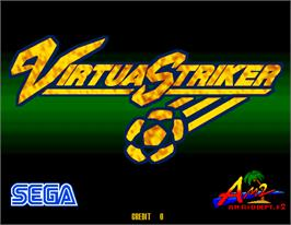 Title screen of Virtua Striker on the Arcade.