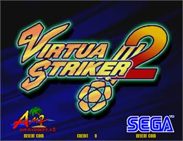 Title screen of Virtua Striker 2 on the Arcade.