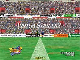 Title screen of Virtua Striker 2 Ver. 2000 on the Arcade.