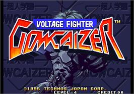 Title screen of Voltage Fighter - Gowcaizer / Choujin Gakuen Gowcaizer on the Arcade.