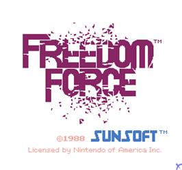 Title screen of Vs. Freedom Force on the Arcade.