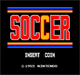 Title screen of Vs. Soccer on the Arcade.