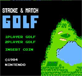 Title screen of Vs. Stroke & Match Golf on the Arcade.