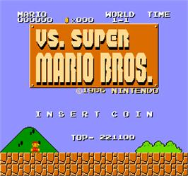 Title screen of Vs. Super Mario Bros. on the Arcade.