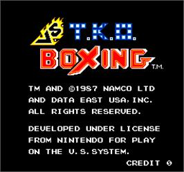 Title screen of Vs. T.K.O. Boxing on the Arcade.