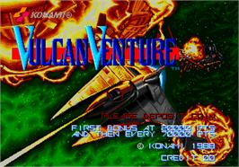 Title screen of Vulcan Venture on the Arcade.