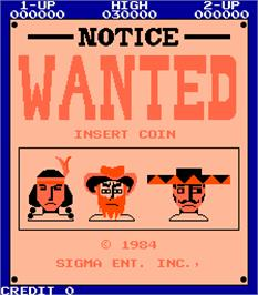 Title screen of Wanted on the Arcade.