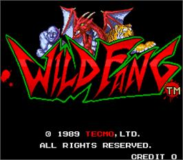 Title screen of Wild Fang / Tecmo Knight on the Arcade.