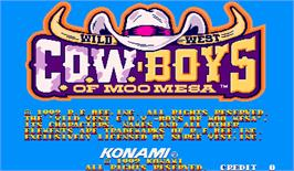 Title screen of Wild West C.O.W.-Boys of Moo Mesa on the Arcade.