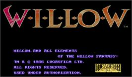 Title screen of Willow on the Arcade.