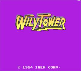 Title screen of Wily Tower on the Arcade.