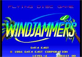 Title screen of Windjammers / Flying Power Disc on the Arcade.