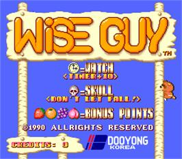 Title screen of Wise Guy on the Arcade.
