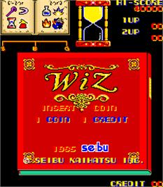 Title screen of Wiz on the Arcade.