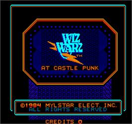 Title screen of Wiz Warz on the Arcade.