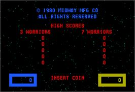 Title screen of Wizard of Wor on the Arcade.