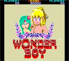 Title screen of Wonder Boy Deluxe on the Arcade.