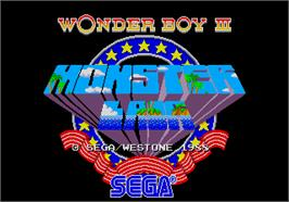 Title screen of Wonder Boy III - Monster Lair on the Arcade.
