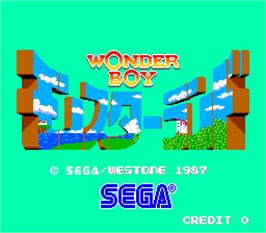 Title screen of Wonder Boy in Monster Land on the Arcade.