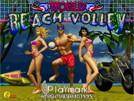 Title screen of World Beach Volley on the Arcade.