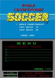 Title screen of World Championship Soccer on the Arcade.