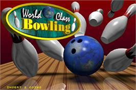 Title screen of World Class Bowling on the Arcade.