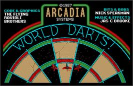 Title screen of World Darts on the Arcade.