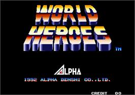 Title screen of World Heroes on the Arcade.